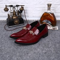 Wholesale Solid Burgundy Prom Dresses - Euro 2016 Plu groom wedding shoes size 46 red prom evening dress shoes men leather House United Kingdom style fashion shoes