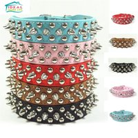 Wholesale Studded Leather Small Dog Collar - Chic Pet Dog Rivet Collar Spiked Studded Strap Pitbull Collar PU Leather Pet roducts Free Shipping
