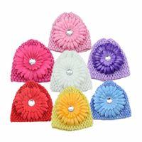 Wholesale Crochet Autumn Patterns - 2016 Autumn Winter Crochet Headband Pattern Girls Hat Baby Chrysanthemum Hair Caps Warm Kids Hair Band Accessories Tube Hat Flower HT02