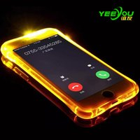 Para iPhone X 10 6/7 / 8S 8plus caso Ligue Lightning Flash LED Light Up Soft TPU Silicone para Samsung Galaxy S8 Edge