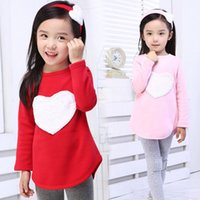 Wholesale Collar Bands - 2016 Autumn 3Pcs 1Set Hair Band Shirts Pants Children's Clothing Set Girls Clothes Suits Pink Red Heart