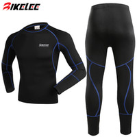 Wholesale Thermal Underwear Bike - Winter Men Thermal Fleece Base Layer Compressed Underwear Bike Cycling Jersey Long Sleeve Bicycle Jersey Set Clothing Maillot