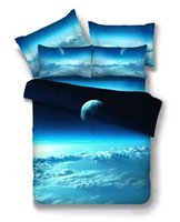 Wholesale 3d Bedding For Boys - Wholesale- Outer Space Clouds 3D Universe Galaxy Bedding set Twin Queen Size For Kids Boys Bed set Duvet Cover Bed Sheet Pillowcases 4 3Pcs