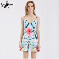 Wholesale Tropical Evening Dresses - 2016 Summer evening party Cute sexy Solid Color Tropical Print Chiffon Dresses floral Mini v-neck dress New Women's backless