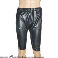 latex legging preto venda por atacado-Black Sexy Latex Longo Leg Boxer Shorts Briefs Com Elastic Fetiche Calças De Borracha Calcinhas Bottoms Shorts DK-0085