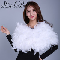 Wholesale Ostrich Feather Shawl White - modabelle White Ostrich Feather Wraps Faux Fur Bolero Wedding Wedding Coat Bolero Mariage Evening Capes Formal Shrugs For Women