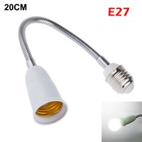 Wholesale T5 Lamp Base Converter - 2015 New 20CM E27 to E27 Flexible Extend Lamp Base Holder LED Bulb Adapter Converter Socket With Fast Ship In 24 Hours