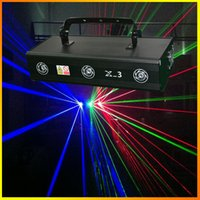 Wholesale Top Dj Lights - Top Selling Three lens X-3 RGB 700mW Full Color Laser Light Pro Stage Lighting Red&Bule&Green DJ Home Party Club Disco Lights