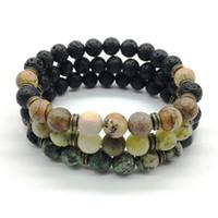 Wholesale SN1200 New Men s Natural Stone Beaded Bracelet Energy Lava African Turquoise Stone Healing Yoga Bracelet