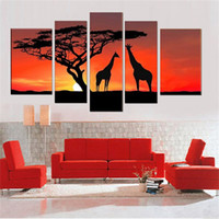 Wholesale Hand Landscapes Forest - 100% Hand made forest tree High Q. giraffe's intimate love Abstract landscape Wall Decor Oil Painting on canvas 5pcs set