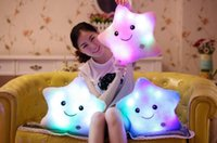 Wholesale Valentine Day Pillows Wholesale - Luminous Pillow LED Light Colorful Star Shape Toys Star Glowing Soft Relax Stuffed Toy Smile Body Pillow Valentine Birthday Gift