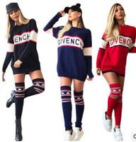 Wholesale Long Sleeve Winter Womens Tops - 2017 Fashion Winter Dress Womens Loose Knitted Oversized Jumper Tops Dress Fashion printing Long-sleeved club bandage dress