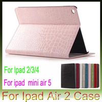 Wholesale Ipad Croco - For Apple iPad air2 air 2 5 iPad 2 3 4 iPad Mini4 Mini 4 Croco Crocodile Snake Leather case stand holster