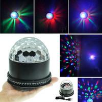 Wholesale black stage - Hot Item Black EU US Plug LED RGB Crystal Rotating Magic Ball Sunflower Colorful light Stage Light Party Lamp Disco