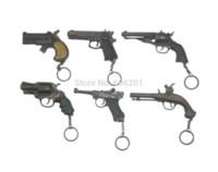 """Wholesale Double Barrelled - 1 Set=6Pcs Metal Pistol Gun Model Toy Guns w Key Chains,Revolver+""""54"""" Pistol+Long-barrelled+Double Barrel+Tortoise Box+Gunpowder Toy Guns"""