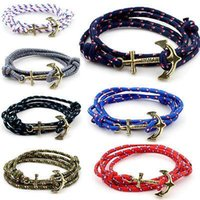 Wholesale handmade movies - Women Men Multilayer Leather Handmade Rope Wristband Anchor Bracelet Bangle Jewelry Leather Cute Infinity Charm Bracelet NAR065