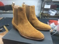 Wholesale European Buckle Boots - Man Slp Designer Ankle Chelsea Boots Casual Kanye West Shoes European Style Martin Boots Size 39-46