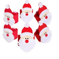 Wholesale Napkin Holders For Table Decoration - Christmas Santa Claus Napkin Rings Serviette Holders Party Dinner Table Decor For Home Restaurant Christmas Supplies fast shipping JF-123
