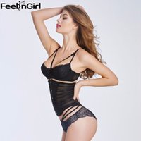 Wholesale Top See Through Lingerie - Wholesale- FeelinGirl Sexy Lingerie Women See-Through 6 Plastic Boned Underbust Corset Top Black Corsets and Bustiers Waist Cincher -C