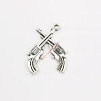 ручная работа оптовых-Античный посеребренные двойной пистолет Шарм подвески для браслет ожерелье ювелирные изделия DIY ручной работы ремесло 29x23mm