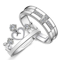 Wholesale Crown Rings For Men - 1 Pair (2pcs) 925 Sterling Silver Adjustable Ring Jewelry Engagement Love Crown Cross Zircon Wedding Lovers Couple Rings for Women Men