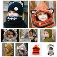 bebek şal şapkaları toptan satış-Çocuklar Sıcak Kış Boyun Wrap Fox Eşarp Kapaklar Sevimli Çocuk Yün Örme Şapka Bebek Kız Şal Kapşonlu l Beanie KKA2839