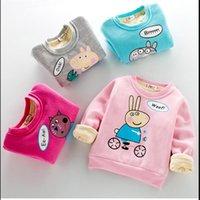 Wholesale Plain Pullover Sweater - Wholesale- moleton infantil kids rabbit plain girls sweatshirt winter full warm thick Children's sweater 2016 pullover enfant fille 5ans