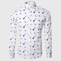 Wholesale Guitar Long Sleeve - Wholesale-Rock Guitar Printed Shirts White Long Sleeve Shirts Classic Fit Casual Hawaiian Music Lover Party Design Clothes