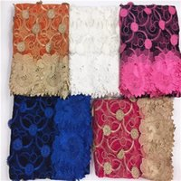 Wholesale African Wedding Voile Lace - 2016 African Lace Fabrics,New French Gold Line High Quality African Swiss Voile Tulle Mesh Lace Fabric For Wedding Dress,Nigerian Net Lace