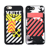Wholesale Stripe Phone Shell - Candy Soft TPU Shell for iphone 6 6s plus 8 7 plus Phone Cases Fashion WHITE OFF Stripe Pattern Back Cover Case Coque