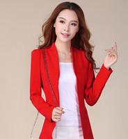 Wholesale Ladies White Satin Jackets - free shipping korean jacket women blazers 2016 white pink plus size blazer elegent suits veste femme lady office suits bomber jacket