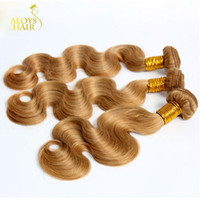 Wholesale Russian Body Wave Hair - Honey Blonde Russian Body Wave Virgin Hair Weave Sexy Color 27# Russian Human Hair Body Wavy 3 4 Bundles Cinderella Girl Hair Extensions