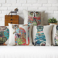 Wholesale owl handmade pillow - 45cm abstract Whale Owl Horse Pattern Cotton Linen Fabric Waist Pillow 18inch Hot Sale New Home Decorative Sofa Car Back Cushion