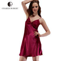 Wholesale Sleepwear For Women Free Shipping - Wholesale-Sexy Silk Women Sleepwear 2016 Hot Sales Sleepwear For Girls Dress High Quality Imitated Silk Girls Dress Free Shipping
