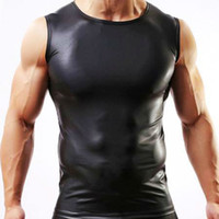 Wholesale men s leather vests - Wholesale-Men's Imitation Leather Vest,Wide shoulder sleeveless,MANSTORE Fitness Singlet Sport Stringer Regata Masculina Musculation