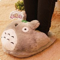Wholesale Totoro Home Slippers - Wholesale- Free Shipping Cartoon Totoro Totoro Plush Feet Warm Home Slippers Cotton Slippers Computer