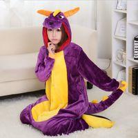 Wholesale Spyro Dragon Costume - Halloween Spyro Purple Dragon Cartoon Animal Onesies Onesie Pajama Sets Adult Unisex Fashion Cosplay Women Pyjama Pajamas