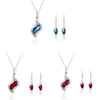 Wholesale Coloured Light Pendants - Crystal necklace pendant earring ear pendant fashion cheap jewelry set wave shinny necklace party jewelry set three colour gem AC018