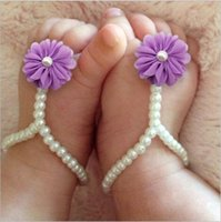 Wholesale Girls Lace Pearl Shoes - New 2017 children baby girl shoes kids Pearl Chiffon baby shoes Baby shoes foot ring NT0-05