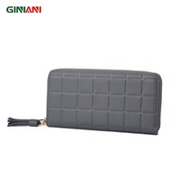Wholesale compartments tray - Wholesale- GINIANI Ladies Leather Ice Tray Long Wallet Women's Tassel Zipper Simple Standard Large Capacity Coin Purse