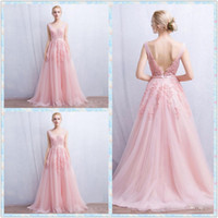 Wholesale Elie Saab Flower Dress - Elie Saab 2016 Pink Evening Dresses V Neck Sleeveless Lace Applique Backless Prom Gowns Sweep Train A Line Vintage Party Dress