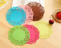 Wholesale Heated Coffee Cup Pads - Colorful Lace Flower Hollow Design Round Silicone Table Heat Resistant Mat Cup Coffee Coaster Cushion Placemat Pad