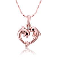 Wholesale Czech Diamond Heart Pendant - Wholesale Dolphin Pendant Czech Diamond Necklace Pendant Silver Necklace Statement Jewelry Friend Bib Necklace as Thanksgiving Day Gift