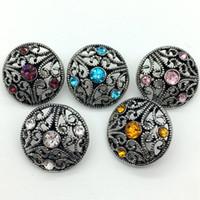 18 mm halkalar toptan satış-Noosa Snap Düğmesi Taklidi Chunk Charm Düğme 18mm Zencefil Çırpıda Bilezik Kolye Yüzük Için Değiştirilebilir Hollow Tarzı Takı