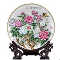 Wholesale decorative art vase online - 07 Jingdezhen ceramics powder enamel flower decoration plate Home decorative arts and crafts