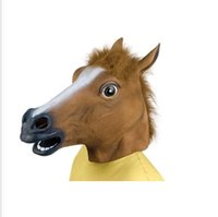 Wholesale Horsehead Masks - Free shipping Halloween CEO horse head mask eco-friendly latex brown horsehead mask COSPLAY performance props wholesale