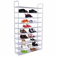 Wholesale Shoes Tires - 50 Pair 10 Tire Shoe Rack Shelf Home Storage Organizer Closet Cabinet Portable HW52383