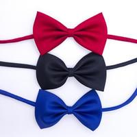 Wholesale Boys White Silk Tie - Children Baby Necktie Neck Ties Boys Girls Bow Silk Tie Candy Color School Tie Cravat Bowtie Kids Wedding Bow Ties pet tie Corsage