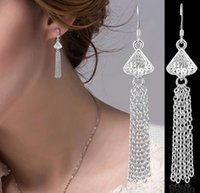 925 Brincos de prata esterlina para mulheres S925 Triangle Long Tassel Classic Retro Casual Dangle Earring Jewelry 2016 Moda