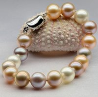 Wholesale South Sea Pearls Rings - Charming 9-10mm round south sea multicolor pearl bracelet 7.5-8 inch S925 silver
